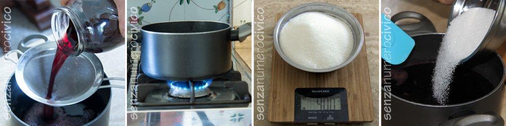 Vari step nella preparazione del visciolato: filtratura, bollitura, aggiunta dello zucchero.