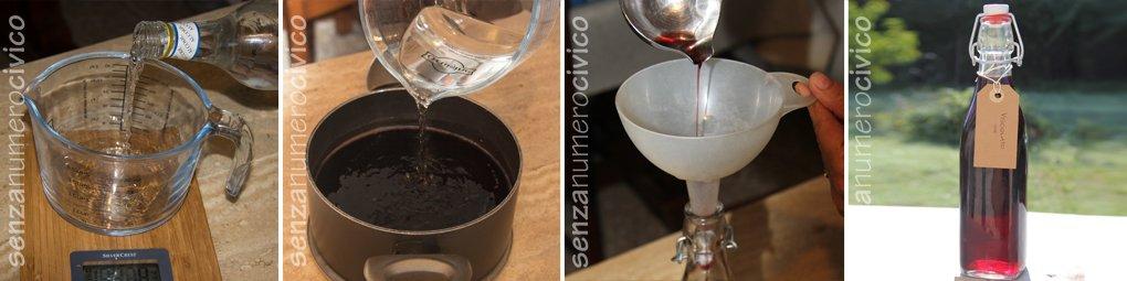 Vari step nella preparazione del visciolato: aggiunta dell'alcol, travasatura, etichettatura