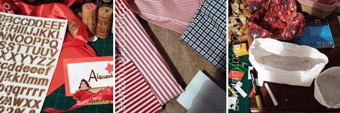 segnaposti e cestini di stoffa