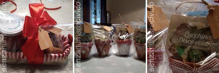 cestini di stoffa e vasetti con semi