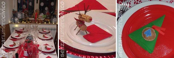 tavola vigilia, segnaposto renna e pallina feltro