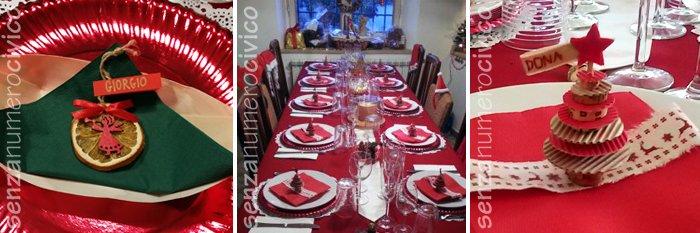 tavola Natale, segnaposto arancia essiccata e alberello cartoncino