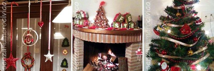 decorazioni pendenti, camino e albero Natale