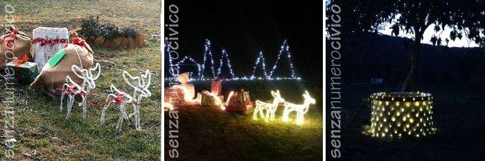 Natale outdoor, renne luminose e pozzo