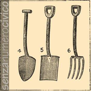 illustrazione attrezzi manuali per la lavorazione del terreno