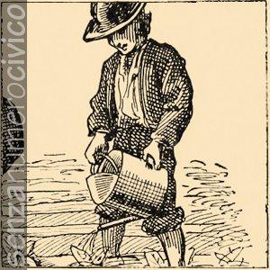 illustrazione contadino che annaffia piantine nell'orto