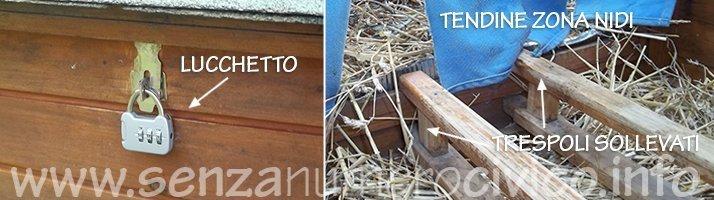 particolari modifiche al pollaio in legno: lucchetti e tendine