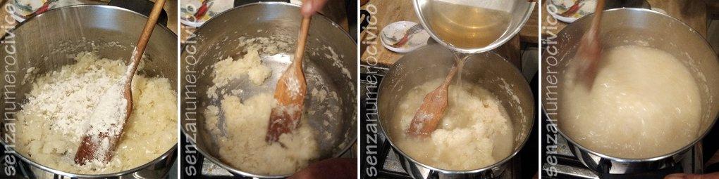 Unire la farina e il brodo